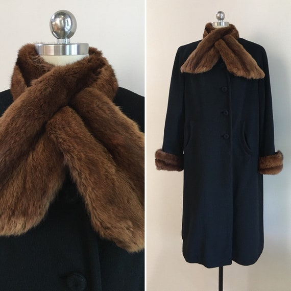 Vintage 1940s - women's pinup girl fall winter black long sleeve wool overcoat - brown mink fur collar scarf & cuffs - Large - up to 42 bust