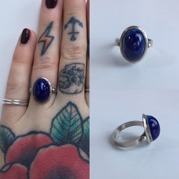 Vintage 1960s / 1970s - women's lapis azuli blue stone gemstone sterling silver thin band ring - size 6.5 - jewelry accessories