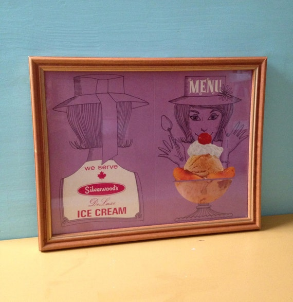 Vintage 1950s 50s 50's midcentury purple Silverwood's ice cream litho lithograph wooden frame soda shop restaurant ad advertisement sign
