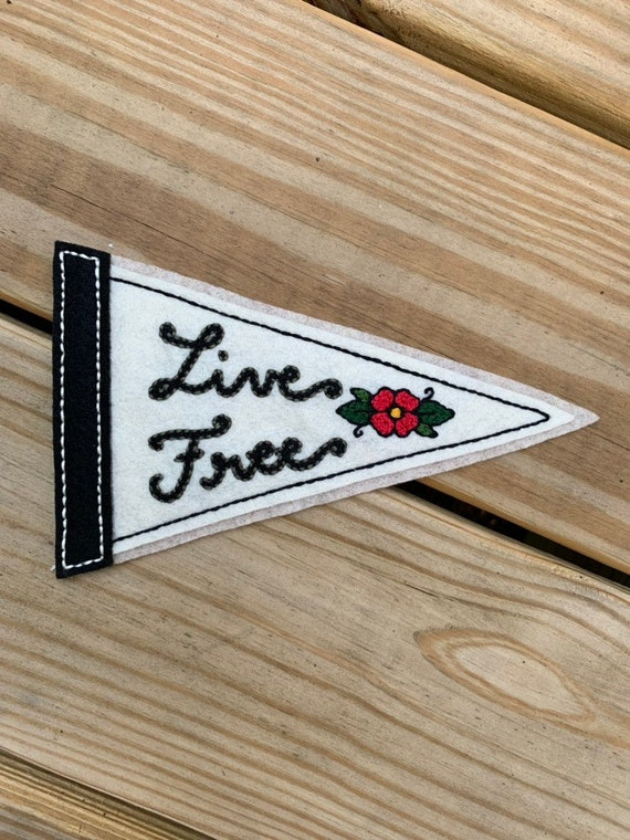 Handmade / hand embroidered black & off white felt pennant - 'Live Free' with red flower - vintage style - tattoo flash