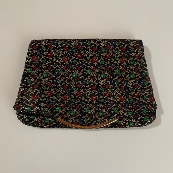 1960s - red, blue & gold fold over floral print rectangular clutch handbag / purse