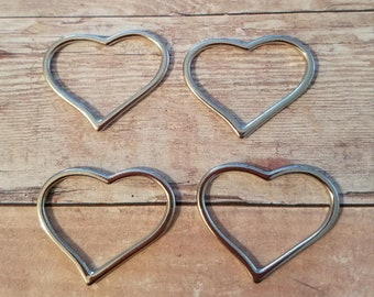 4 Pieces- Floating Heart Charms
