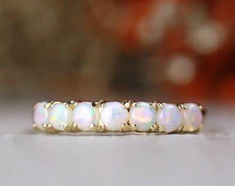 Natural Australian Opal Band | Solid 14K Gold | Prong Setting | Polished Finish | Fine Jewelry | Free Shipping