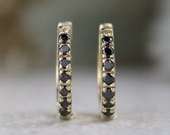 2322fb544 Natural Black Diamond Hoop Earrings | Solid 14K Gold | Polished Finish |  Fine Jewelry | Free Shipping