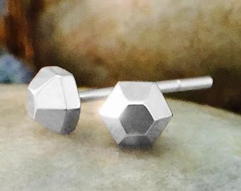 4x4MM Petite Hexagon Stud Earrings | Solid 14K Gold | Geometric Minimalist Earrings | Fine Jewelry | Free Shipping