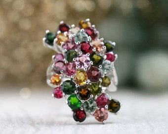 Multicolor Tourmaline Cluster Cocktail Ring | Solid 14K Gold | Polished Finish | Fine Jewelry | Free Shipping