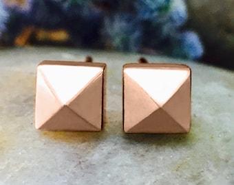 5x5MM Pyramid Studs   Geometric Minimalist Earrings   Solid 14K Gold   Fine Jewelry   Free Shipping