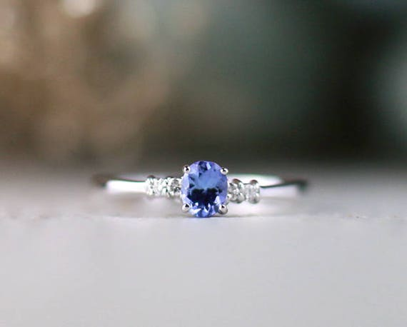 5x3mm Tanzanite And Diamond Engagement Colored Stone Wedding Etsy