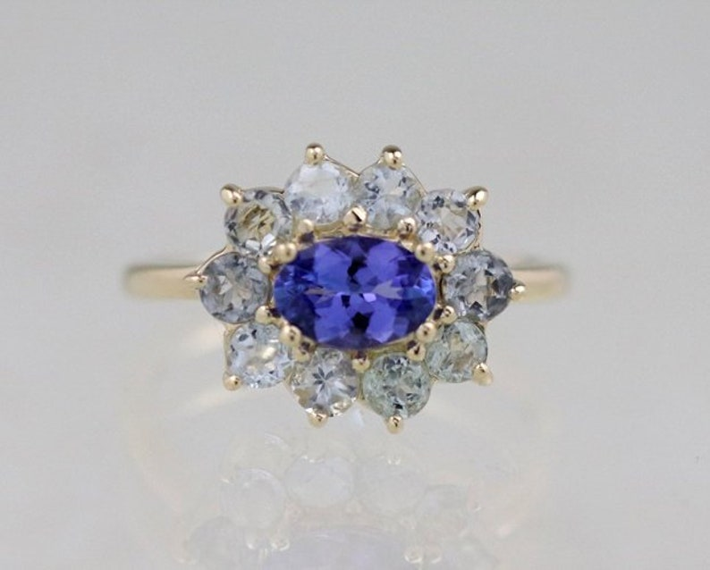 Tanzanite and Tourmaline Halo Blue Dream Ring | Solid 14K Gold | Polished  Finish | Fine Jewelry | Free Shipping