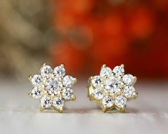 8x8MM Diamond Cluster Halo Stud Earrings | Prong Setting | Solid 14K Gold | Floral Earrings | Fine Jewelry | Free Shipping