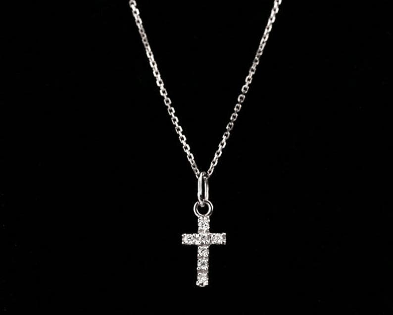 Prong Setting Fine Jewelry PENDANT ONLY: Natural Baby Diamond Cross Pendant Charm Free Shipping Solid 14K Gold