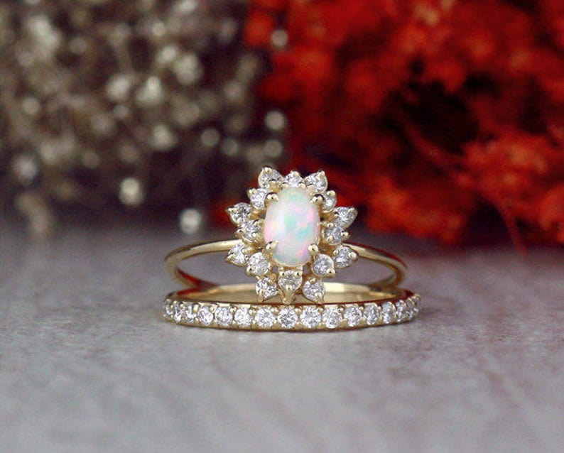 SET: Opal Engagement Ring and 1.9MM Diamond Band  Celestial image 0