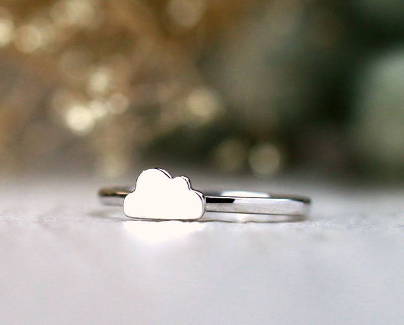 Solid 14K Gold Whimsical Cloud Ring Free Shipping Polished Finish Fine Jewelry