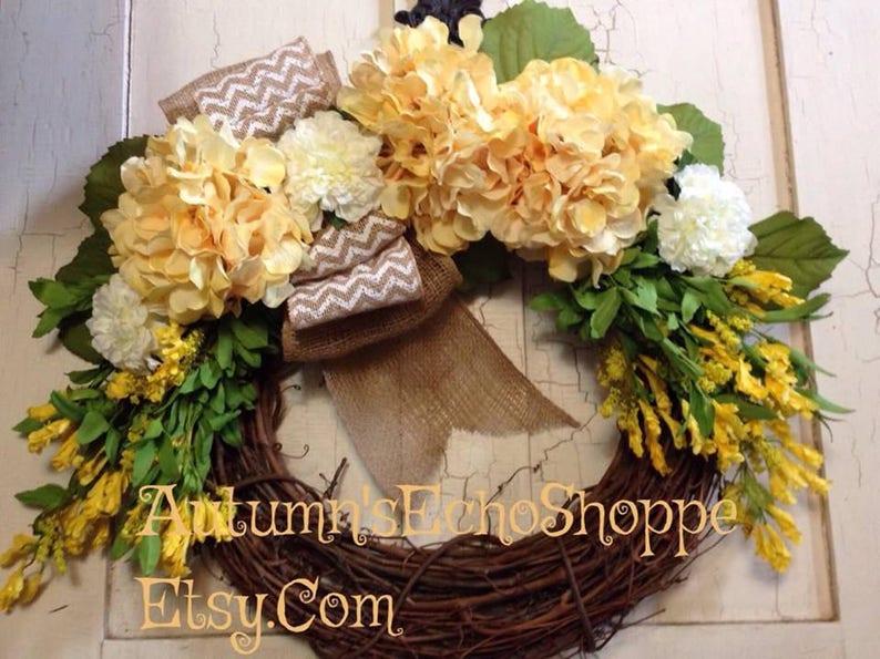 MONOGRAM WREATH ~ Front Door Wreath ~ FarmHouse Style Wreath ~ Hydrangea and Burlap Wreath ~ Spring Door Wreath ~ Summer Door Wreath ~