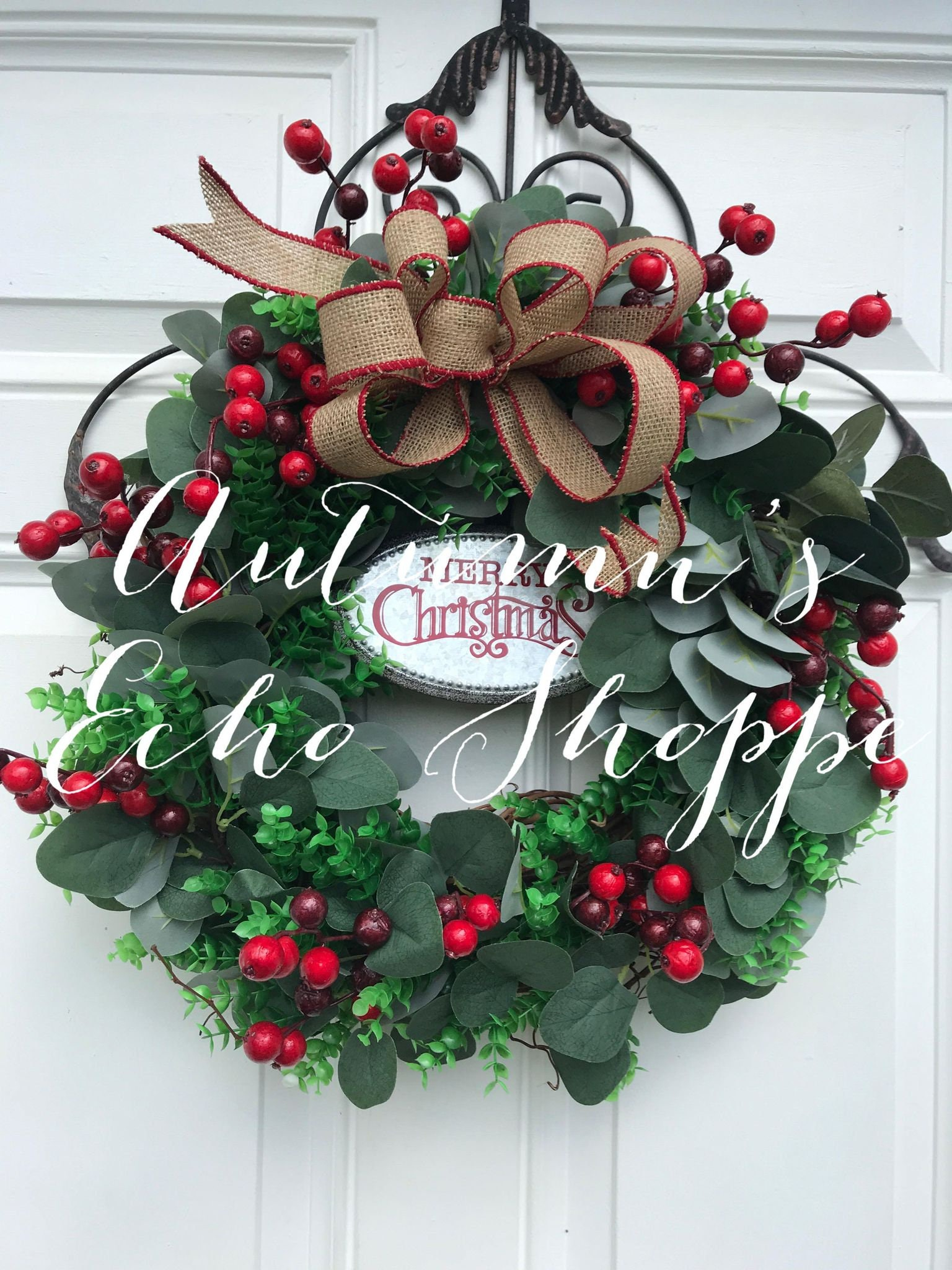 Eucalyptus Christmas Wreath Eucalyptus Boxwood And Berry Wreath Holiday Door Wreath Christmas Wreath Red And Green Classic Wreath