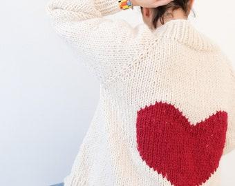Big Heart Cardigan Sweater Knitting Pattern