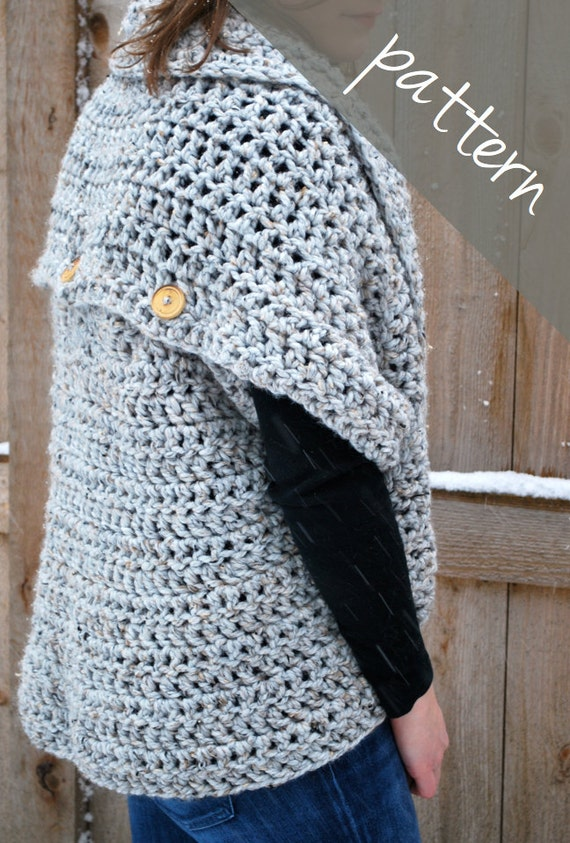 Crochet Pattern Oversized Cardigan Sweater Chunky Cowl Etsy