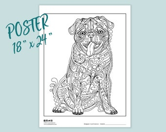 Pug Coloring Pages Etsy