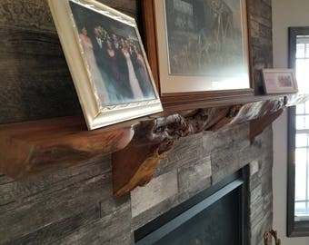 Custom Made Hardwood Live Edge Fireplace Mantels
