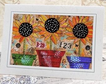 Sunflower Art Greeting Card, Sunflower Photo Art , Photo Greeting Card