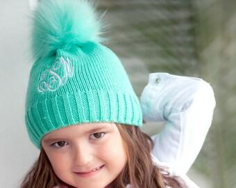 2343651cdbf Girls Personalized Mint Beanie