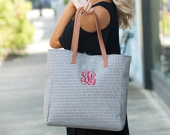 Houndstooth Monogrammed Tailgate Tote, Womens Monogrammed Tote Bag, Personalized Shoulder Bag, Monogram Carry On Bag, Bridesmaids GIfts