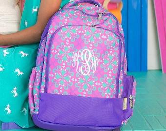 Laptop Backpack Girls Book Bag School Supplies Monogrammed Backpack Personalized Bookbag Riley Girls Monogram Backpack