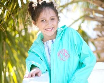 Girls Mint Monogrammed Rain Jacket, Monogrammed Mint Rain Coat, Monogram Mint Jacket, Girls Personalized Jacket, Personalized Rain Jacket