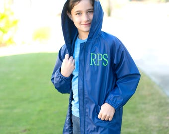 Boys Navy Blue Monogrammed Rain Jacket, Monogrammed Navy Blue Rain Coat, Monogram Navy Blue Jacket, Kids Personalized Rain Jacket