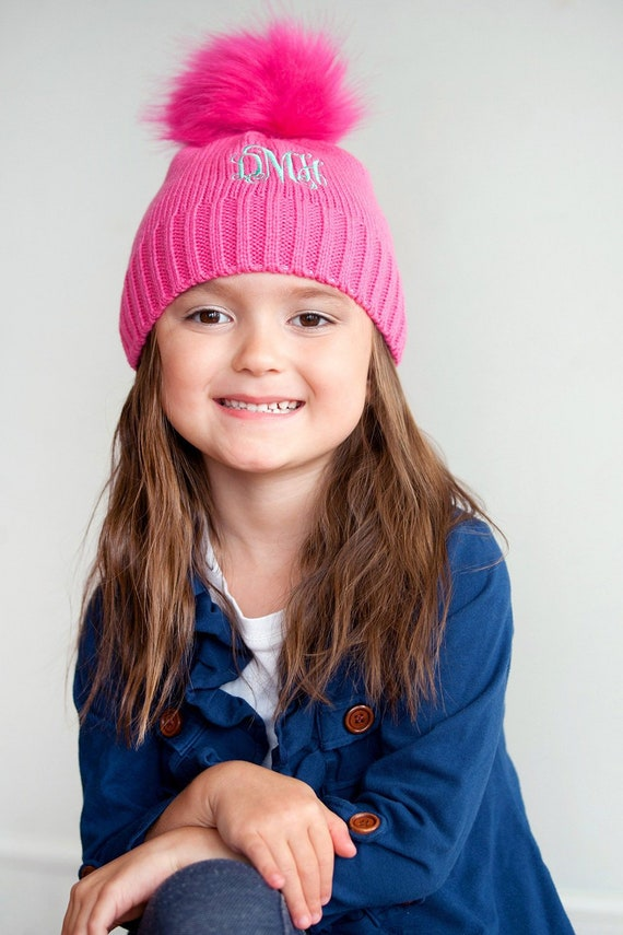 fe77d74a1a0 Girls Personalized Hot Pink Beanie Monogrammed Winter Hat