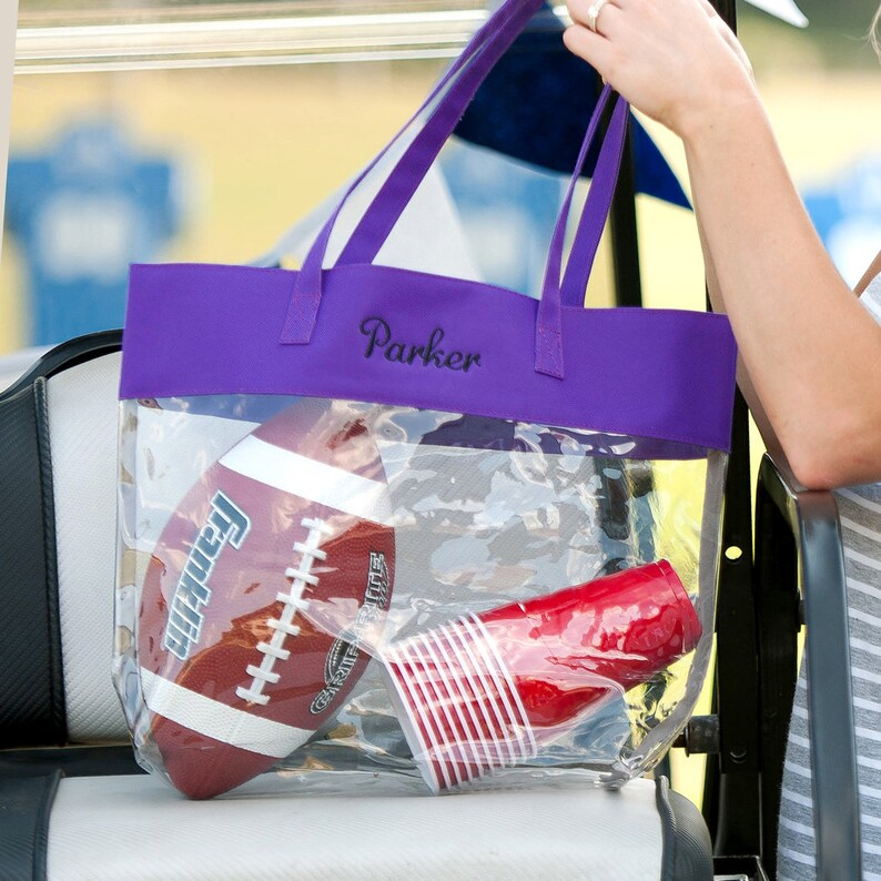 Purple Monogram Clear Tote Bag Womens Shoulder Bag Monogrammed Clear Game Day Purse Personalized Clear Stadium Bag Stadium Friendly