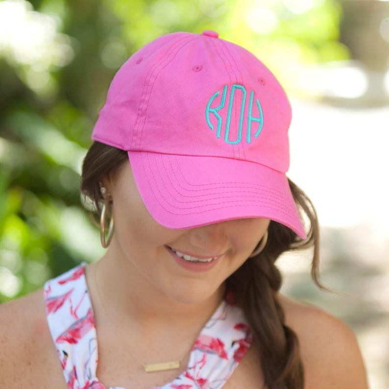 91c3c3b2a7790 Hot Pink Personalized Baseball Cap Womens Monogram Baseball