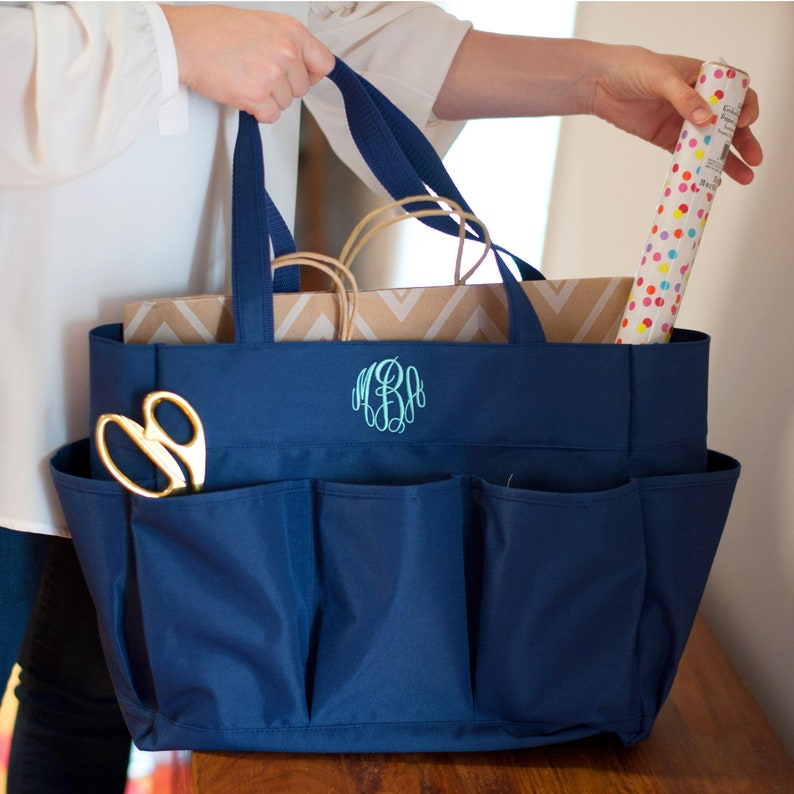 6b14ed3d2466 Navy Blue Monogram Carry All Bag Personalized Canvas Tote