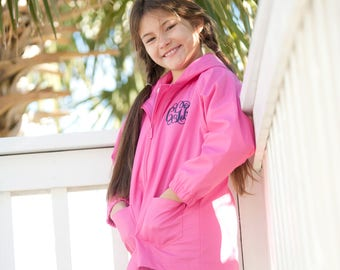 Girls Hot Pink Monogrammed Rain Jacket, Monogrammed Hot Pink Rain Coat, Monogram Hot Pink Jacket, Kids Personalized Rain Jacket