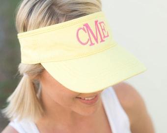 Yellow Monogrammed Womens Visor, Monogram Womens Hat, Monogram Sun Visor, Bridesmaid Gift, Wedding Gift, Mother's Day Gift