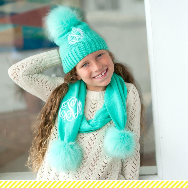 Girls Personalized Mint Beanie and Scarf Set Monogrammed  b13363702e28