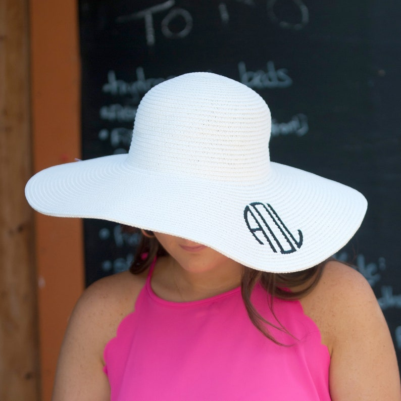 0a9d164408af0 White Monogrammed Floppy Sun Hat Monogram Beach Hat Monogram