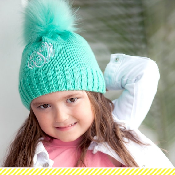 5557f3ab378 Girls Personalized Mint Beanie Monogrammed Winter Hat