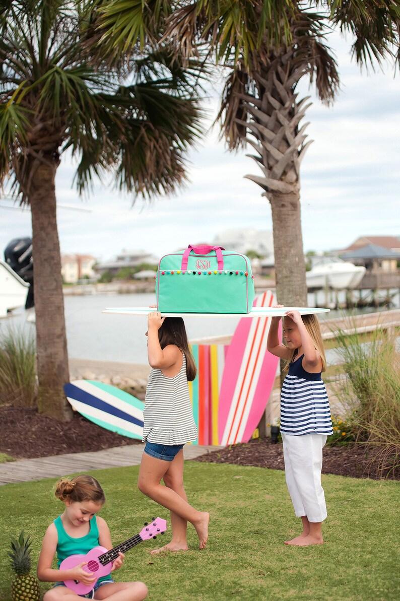 Monogram Carry On Bag Personalized Girls Weekender Duffel Bag Overnight Bag Monogrammed Travel Bag Gift For Her