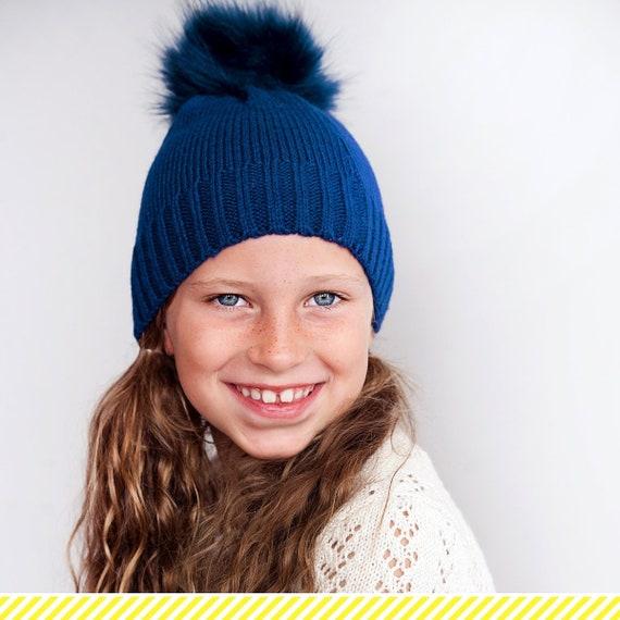 6c03240159d Girls Personalized Navy Beanie Monogrammed Winter Hat