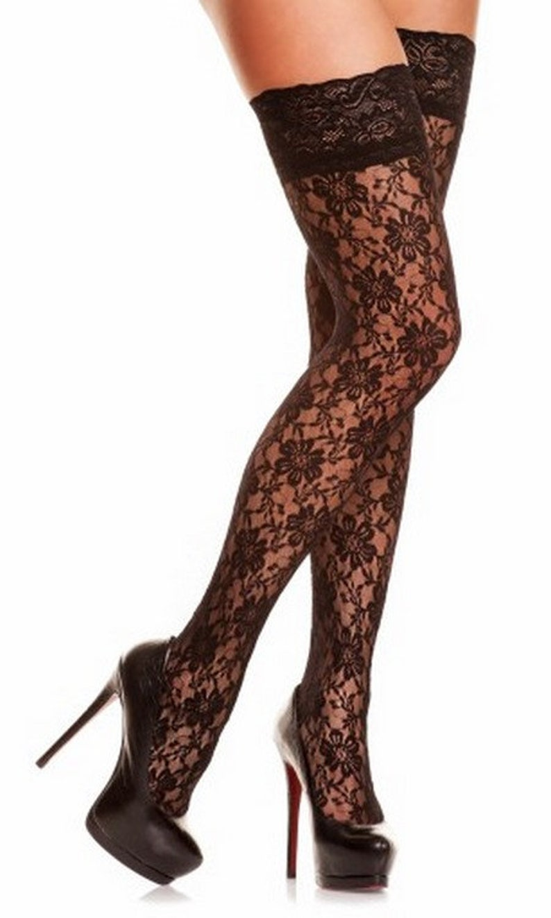 Femmes Black Lace collants Skinheadgirl bas Retro Style Mod  913adfa8316