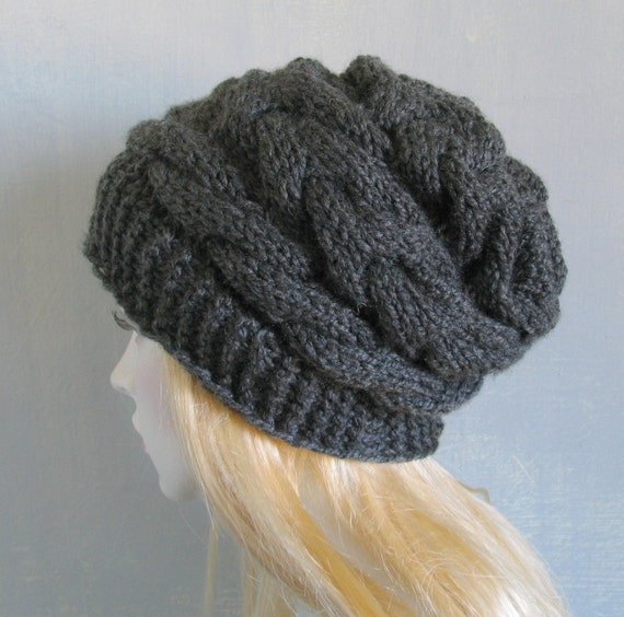 864a716ac12 Black Chunky Knit Hat Women Black Hat Hand Knitted Womens