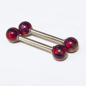 Set of 2 BLACK OPAL Nipple Barbells Nipple Shield Nipple Ring Scaffold Industrial Gold P 14g 10mm 12mm 14mm 16mm 19mm 32mm 35mm 38mm