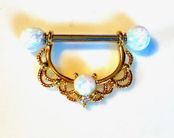 1 14g or 16g White Opal Nipple SHIELD Gold Filigree, 16mm Steel or Gold Barbell fits 12mm 14mm Nipple Piercing. Order 2 For A Set