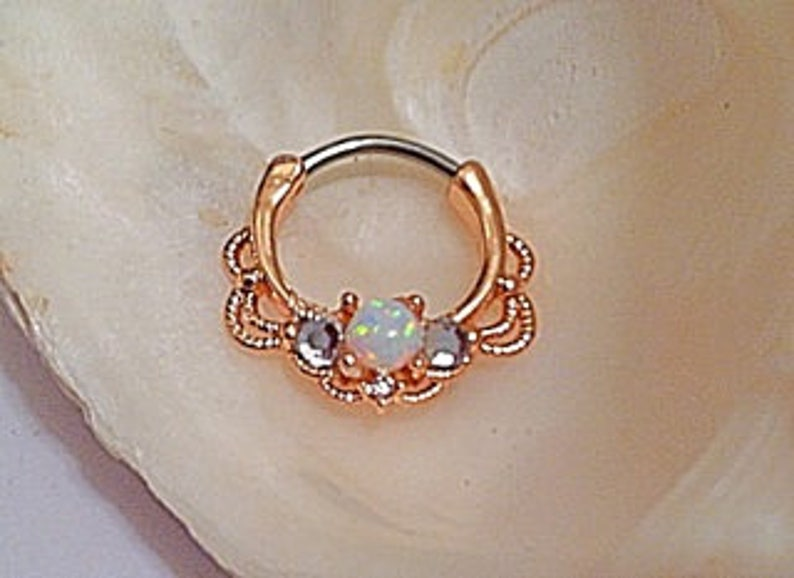 White Opal Clear Crystal Septum Clicker Gold Plated 16g Roped Filigree 316L Surgical Steel DAITH