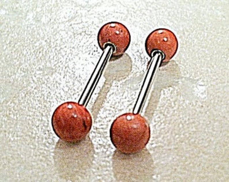 Natural RED JASPER Industrial Scaffold Nipple Tongue Barbell 14g Gemstone 6mm Ball Ends 316L Surgical Steel Gold Rose Gold Plated