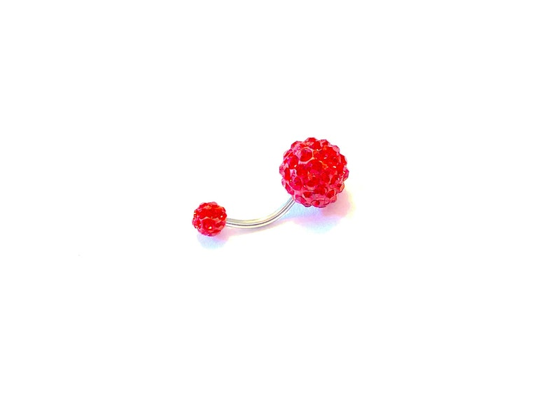 Balls 10mm and 6mm Choice of 8mm 10mm 12mm Surgical Steel 316L Curved Barbell CHRISTMAS FERIDO BALL Red Belly Ring 14g
