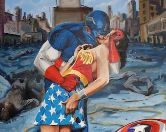 Love Amongst The Ruins- Captain America and Wonder Woman Iconic Kiss Limited Edition 8 x 10 inch glossy print