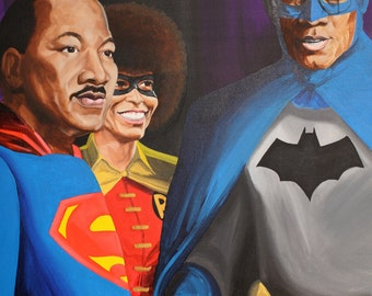 MLK Malcolm X Angela Davis Canvas Print black superheroes 12x16 inch Limited Edition by Issa Ibrahim