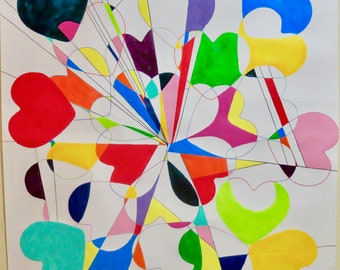 Love Unlimited colorful hearts geometric design original painting on unmounted paper by Susan Spangenberg
